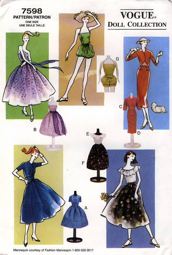 Sewing Pattern 1950s Vogue 8014 | moldes da barbie e outras ...