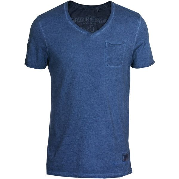 True Religion Faded Blue Cotton T-Shirt (27.690 HUF) ❤ liked on Polyvore featuring men's fashion, men's clothing, men's shirts, men's t-shirts, shirts and tops