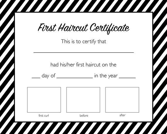 Our First Haircut Certificate is the perfect way to honor your babys ...