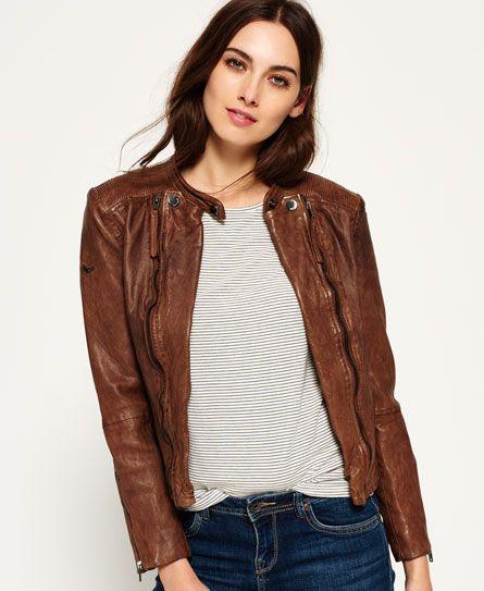 Superdry Silka Leather Biker Jacket Brown | My Superdry ...