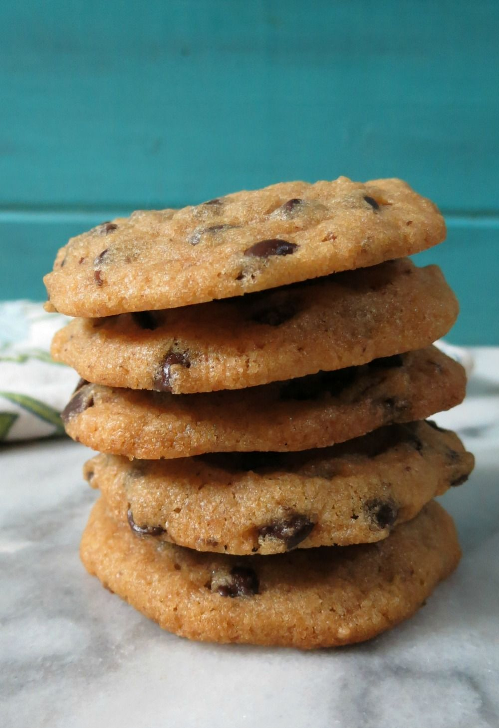 Vegan Chocolate Chip Cookies - A healthy, non-dairy whole grain cookie with a crispy edge and soft center, chock full of mini Chocolate Chips.
