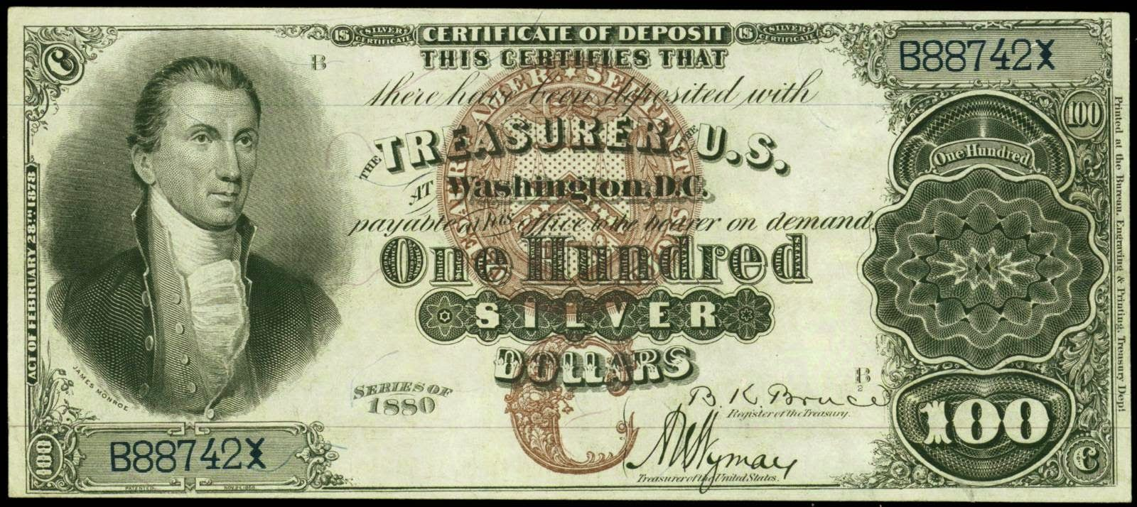 One Hundred Dollar Silver Certificate From Series Of 1880 James