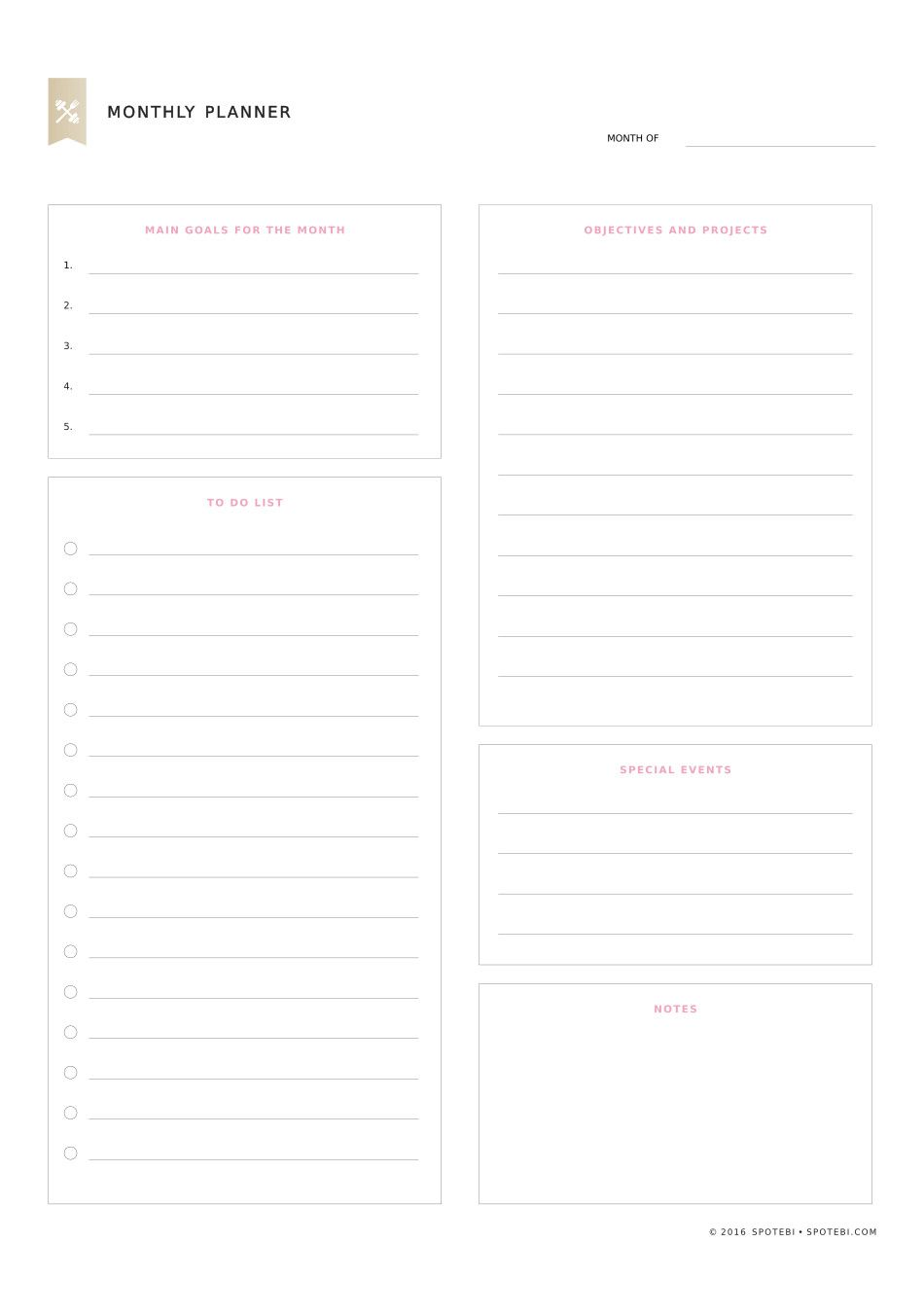 Monthly Planner Template  Monthly Planner Template Planner