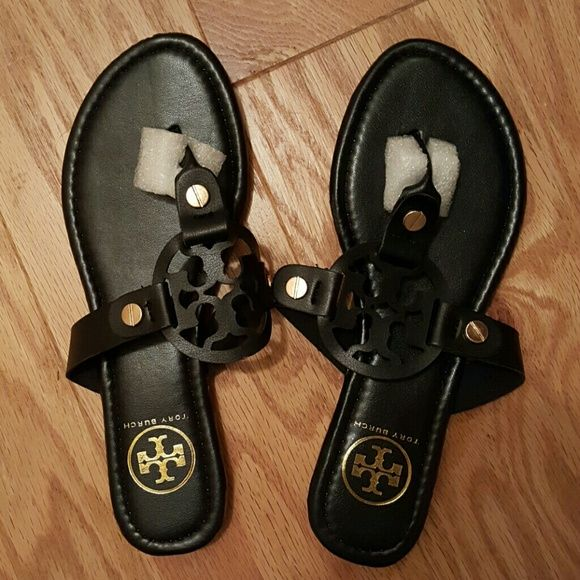 Black Tory Burch Miller Sandals Gorgeous Tory Burch LOOK ALIKE Miller  Sandal with gold embellishment.