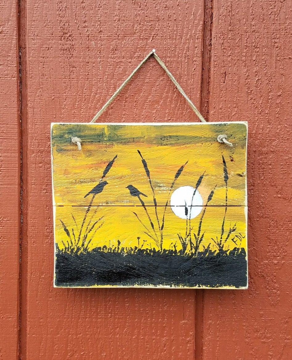 Birds on reclaimed wood | Canvas painting | Pinterest | Bird, Woods ...