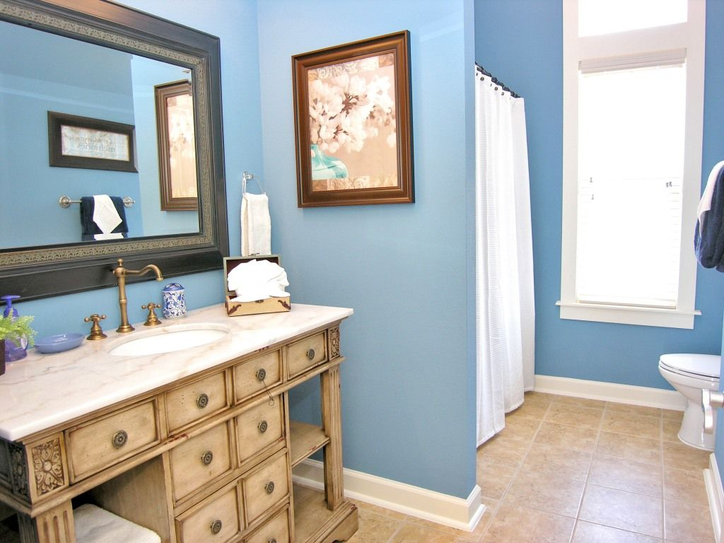 bathroom: Licious Bright Blue Bathroom By Pleasing White Shower ...