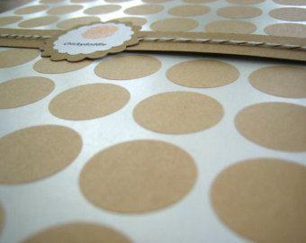 1 Inch Circle Sticker, Round Kraft Sticker - Set of 63
