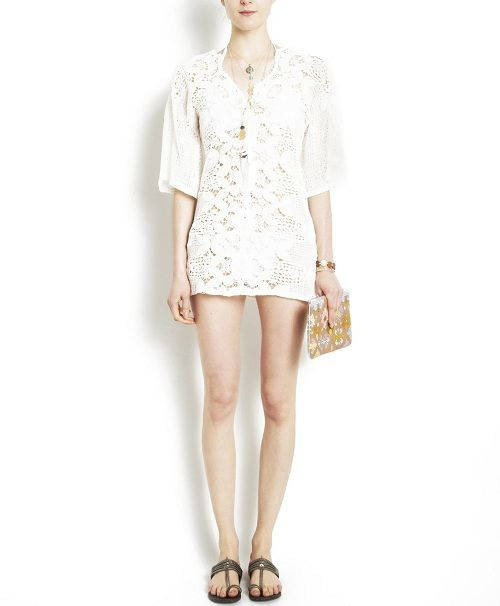 Behind the Label |Trend Alert: White Lace  Miguelina's Natalie Scallop Lace Tunic  shoplatitude.com