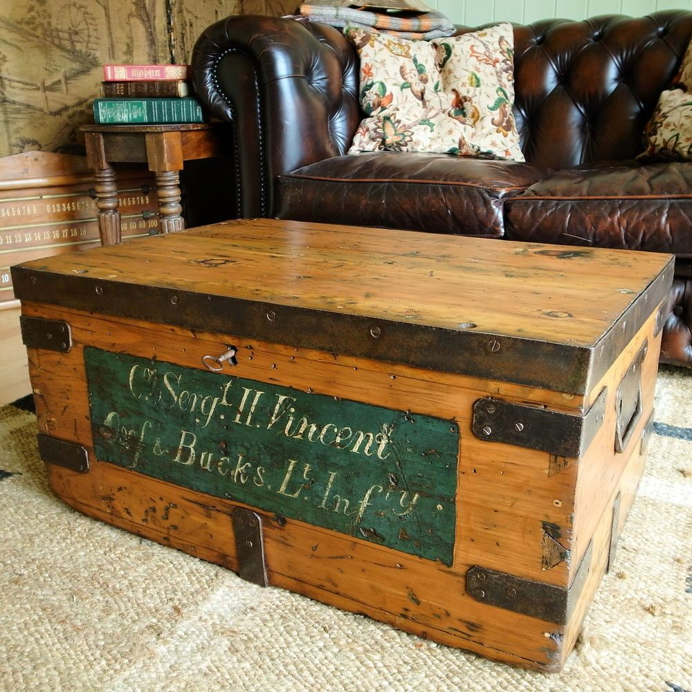 ANTIQUE MILITARY CHEST WWI Vintage Pine Trunk RUSTIC INDUSTRIAL Coffee Table  BOX Part 84