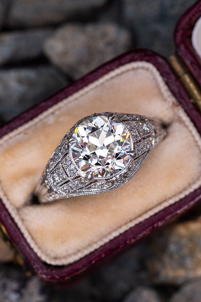 Photo of Old European Cut Diamond Art Deco Engagement Ring 2.12ct K/VS1. Sku CND60182.