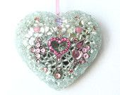 easter gift decoration jewelry heart pink silver gift idea for her love heart sparkling for home decor