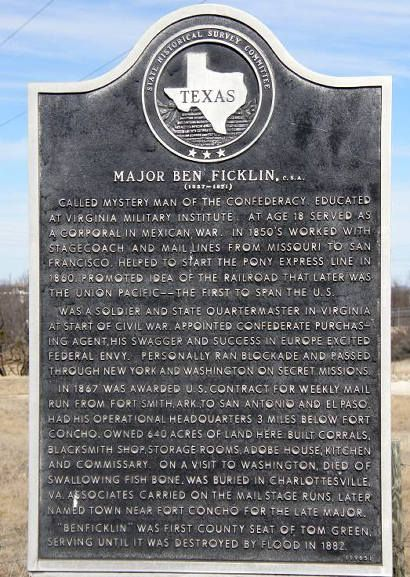 Ghost Town Ben Ficklin, Texas, Former Tom Green County Seat
