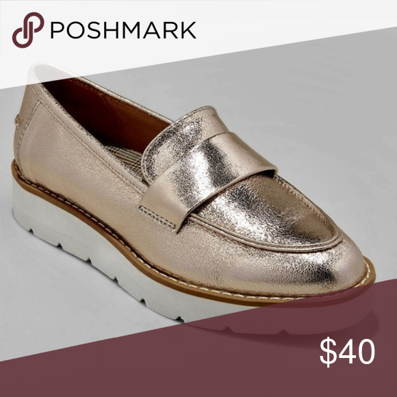 Metallic Gold Slip On Loafers
