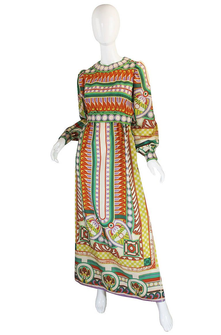 1960s Tribal Print Silk Malcolm Starr Mxi Dress |