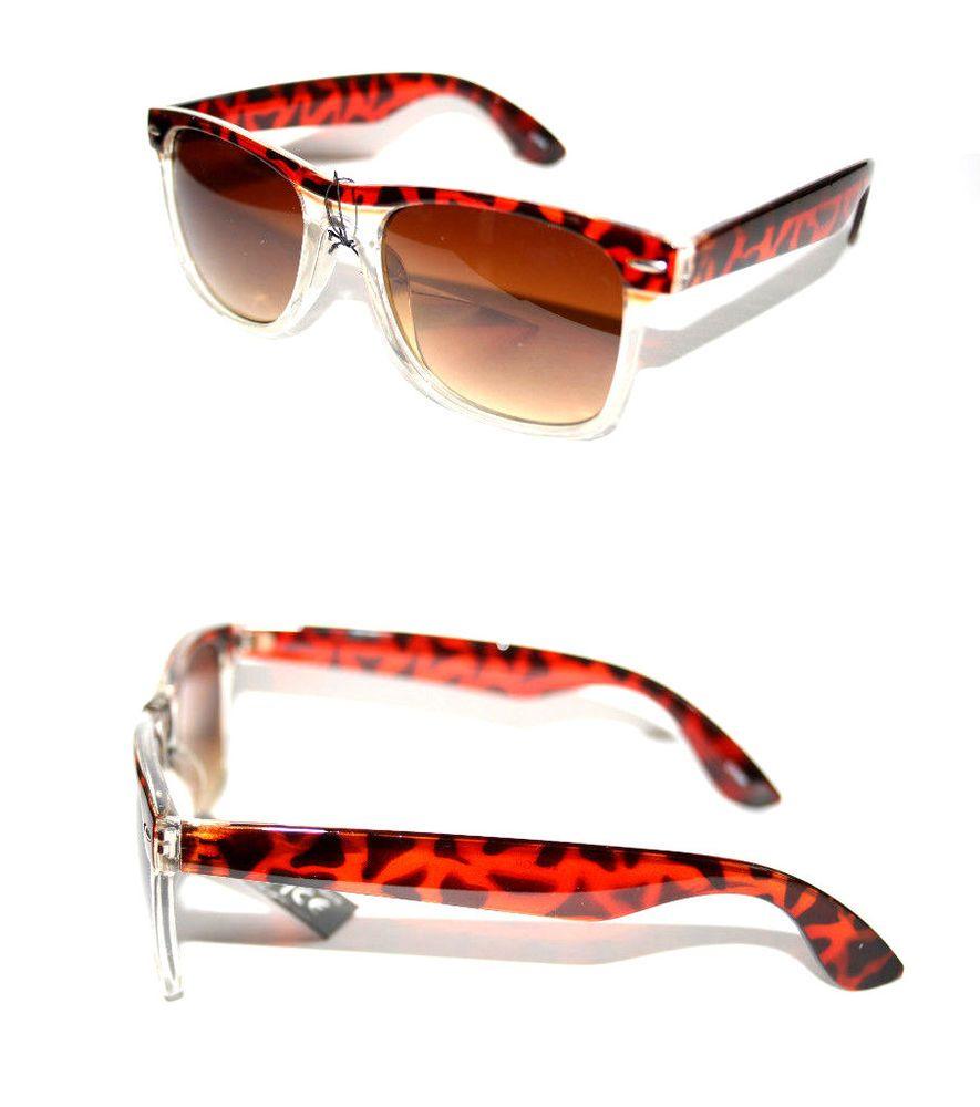 Mens retro sunglasses brown tortoise clear frame horn