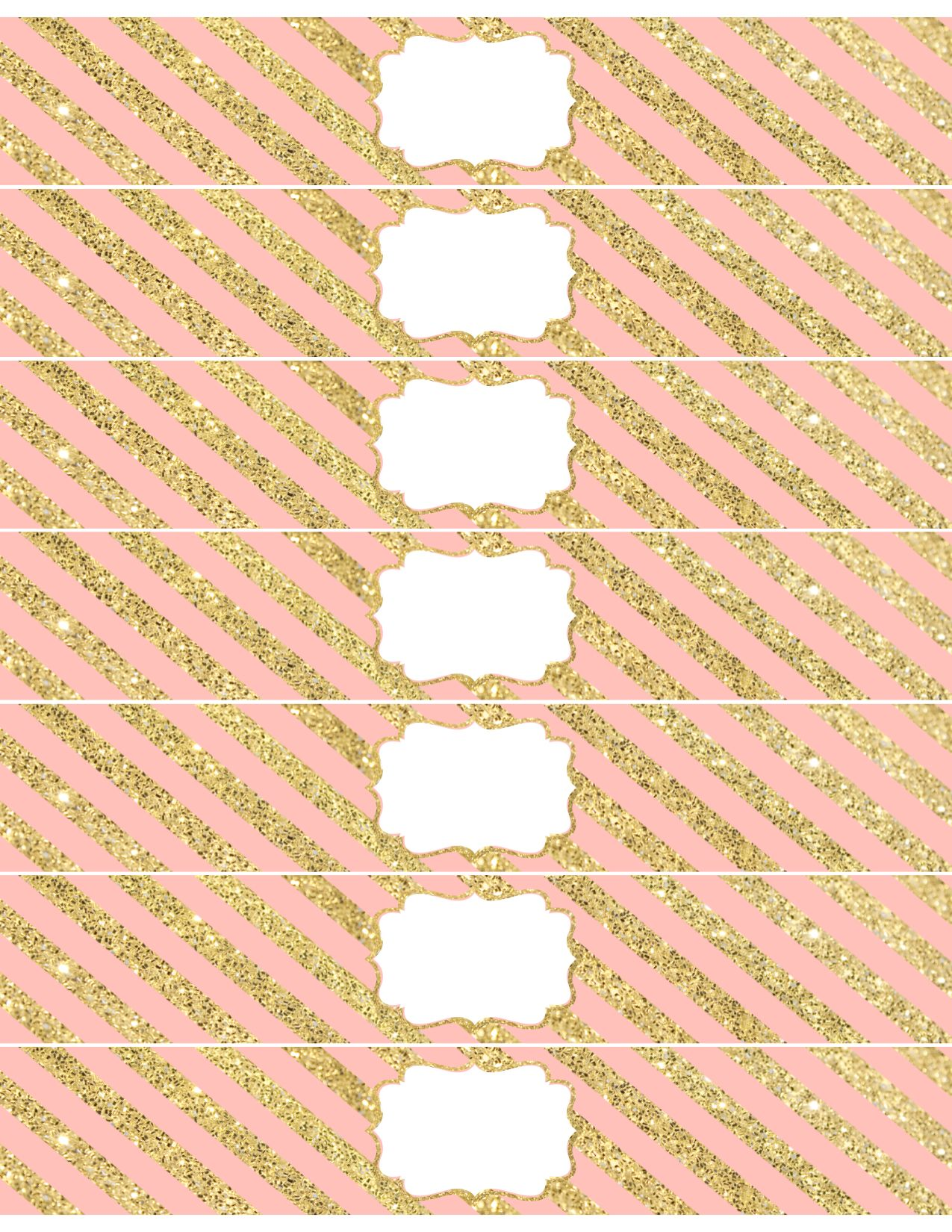 Pink and Gold Water Bottle Wrappers Free Printable ...