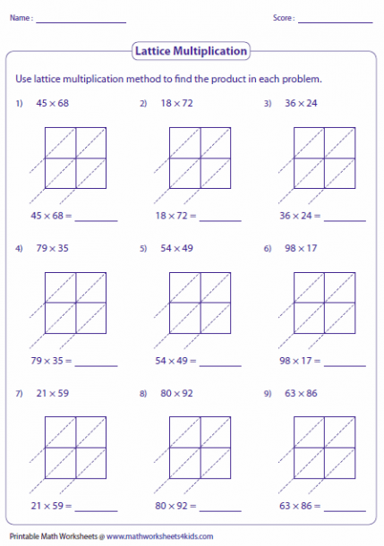 Lattice Multiplication Worksheets 4th Grade Lattice Multiplication Multiplication Worksheets Multiplication