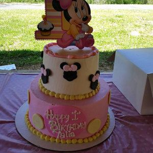 Marvelous Baby Minnie Mouse First Birthday Cake Topper Or Centerpiece Funny Birthday Cards Online Necthendildamsfinfo
