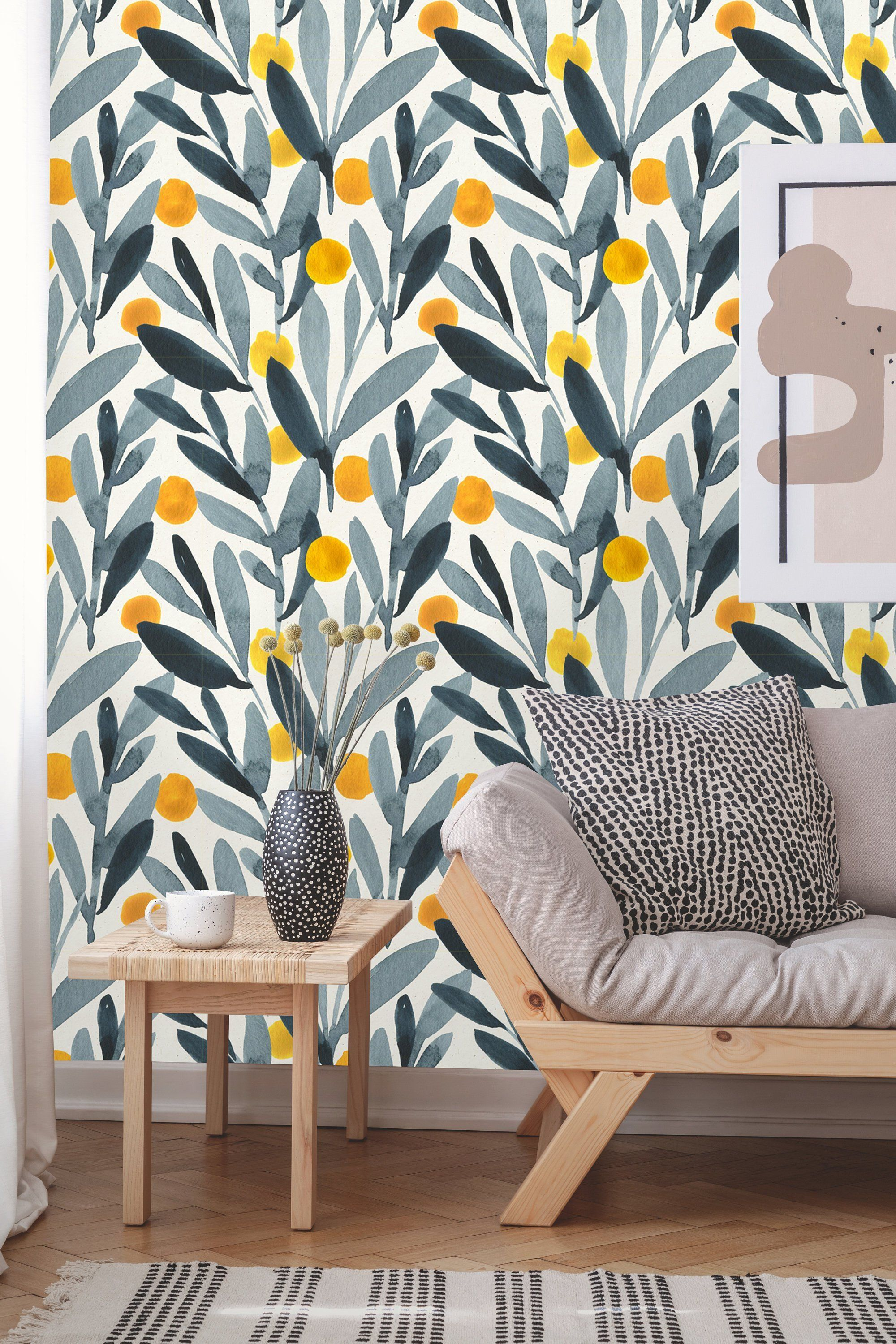Removable Wallpaper Peel And Stick Leaves Wallpaper Self Etsy Removable Wallpaper Watercolor Wallpaper Wallpaper Accent Wall