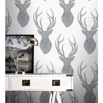 320479 Stags Head Black Silver Room1 B M Stag Wallpaper Animal Print Wallpaper Wallpaper