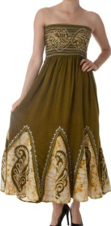 AA34 - Batik Print Embroidered Sleeveless Smocked Tube Top Long Dress ( Various Colors ) - Green/Yellow/One Size,
