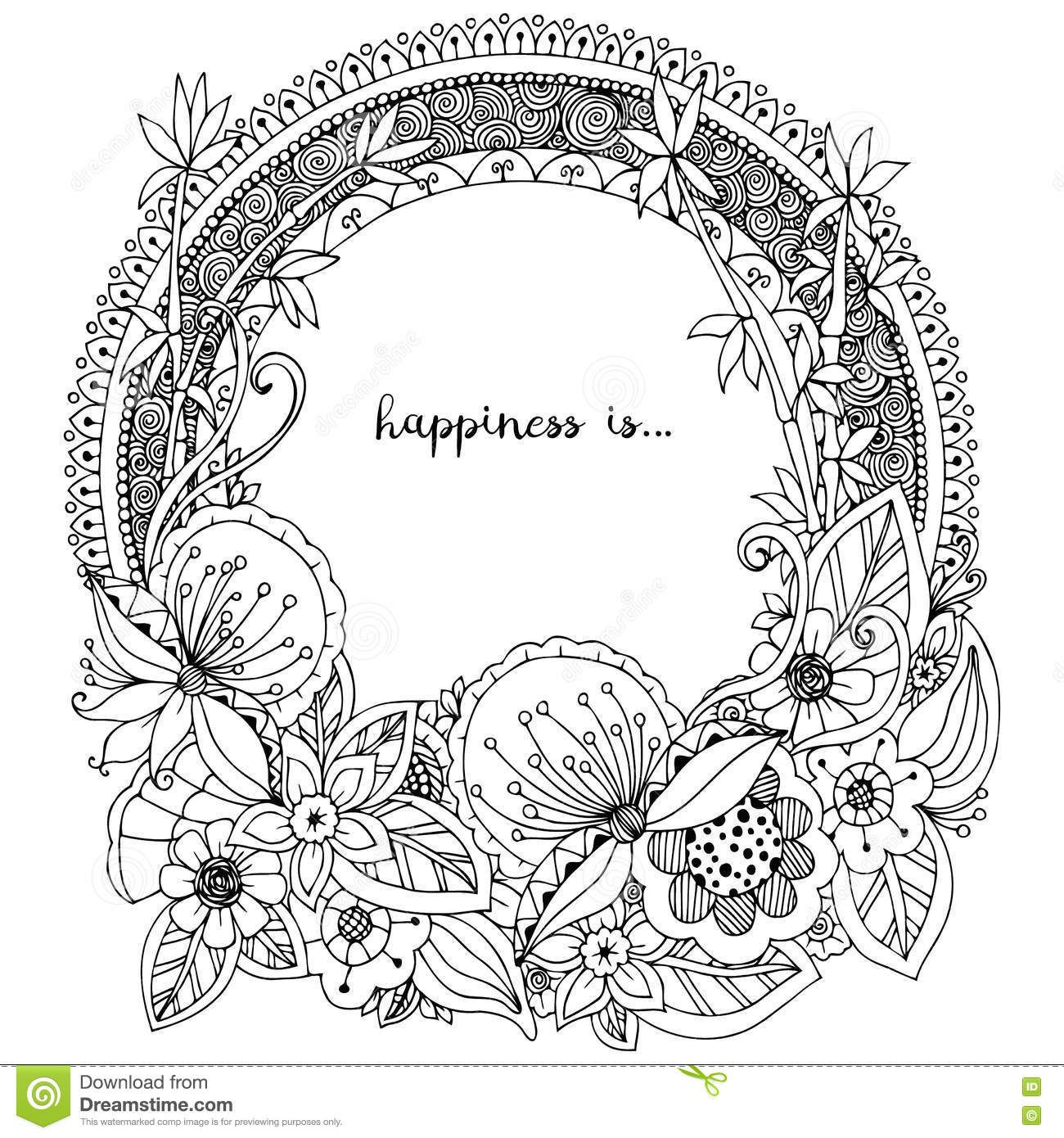 Vector Illustration Zen Tangle Doodle Round Frame With Flowers