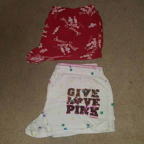 "PINK & AE pjs bundle The PINK shorts (white with sequins) are Smalls. The red pair ""sweet tooth"" pair are Mediums and they are from American Eagle. You will be the cutest girl at the slumber party with these snuggly fleece shorts ;) PINK Victoria's Secret Shorts"