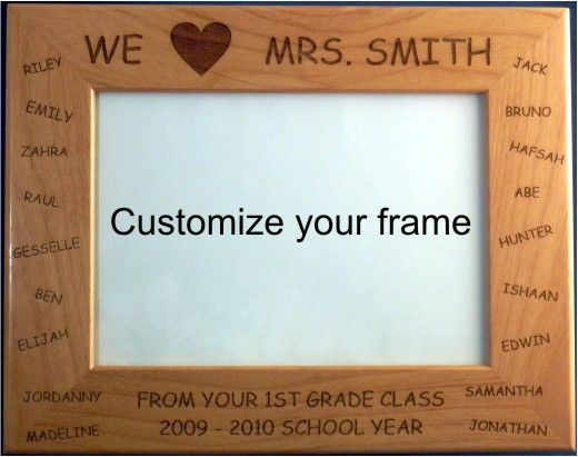 custom red alder picture frame designed as a teachers gift design
