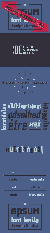 EPSUM Font Family sansserif modern Font family, Italic