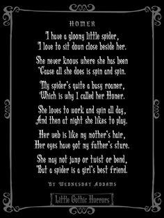 Wednesday Addams Poem To Her Spider Lenore S Stuff Gothic