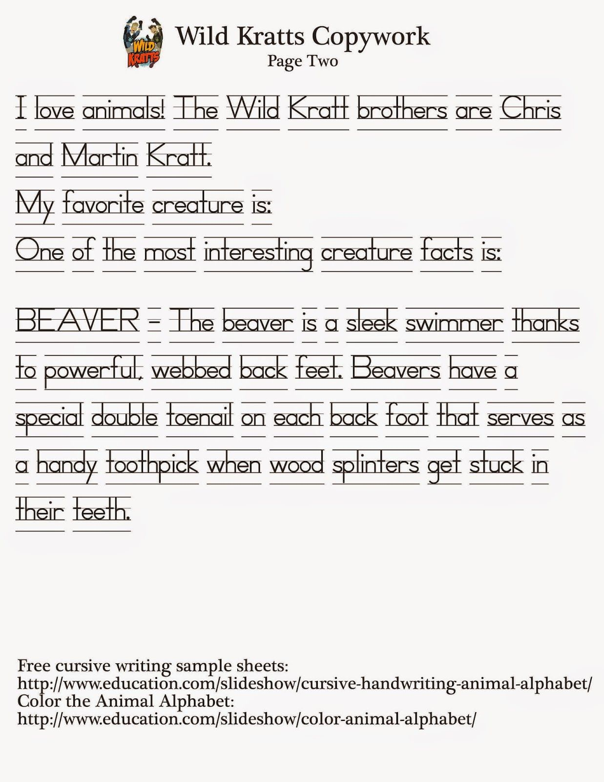 Wild Kratts Curriculum Printable Worksheets