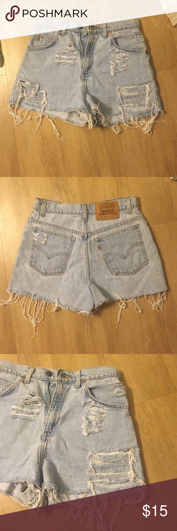 Vintage Levi high-waisted shorts In love with these shorts but they're just too baggy on me :( they're a 27 waist, 13 inch rise I believe. Willing to re-measure if you'd like. They're light wash with lots of cute tatters. My loss is your gain! Levi's Shorts Jean Shorts
