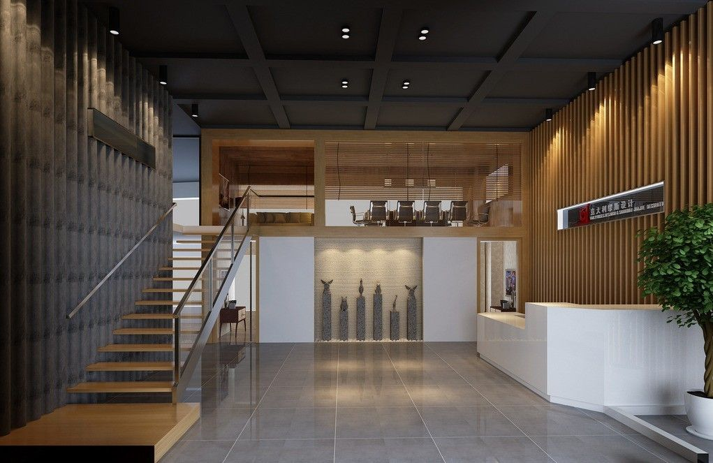 Office interior vertical wood google search office for Office stairs design