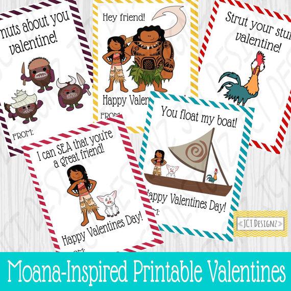 Heartwarming Disney Moana Printable Valentines Cards for Kids – Disney Valentine Cards Printable