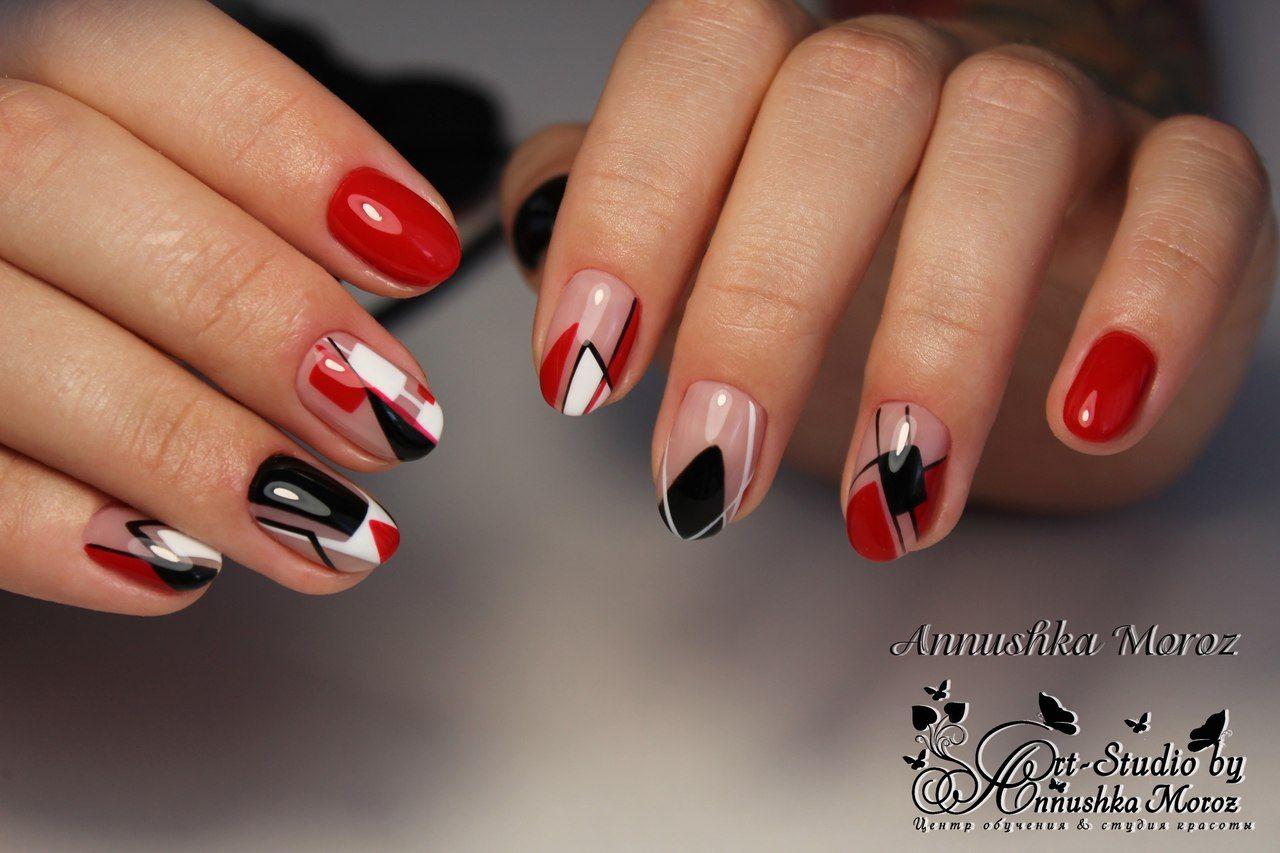 Ногти маникюр черный белый красный