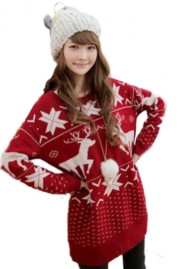 Women Merry Christmas Tree Snow Flake Printed Poncho Ladies Knitted Cardigan