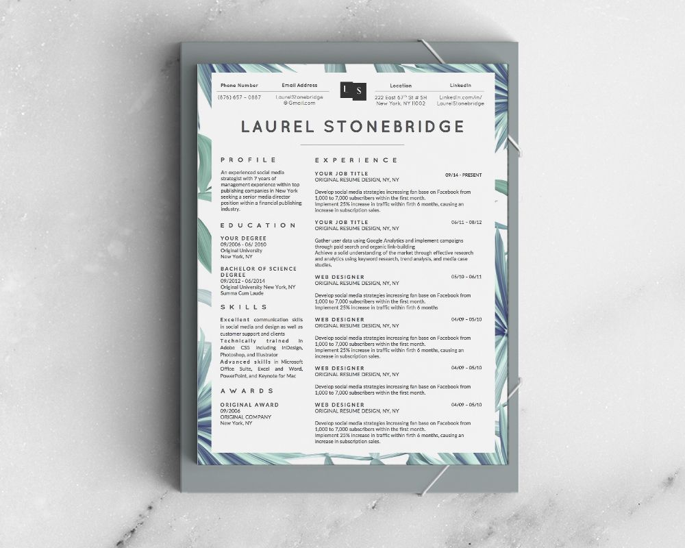 Beautiful Resume Template For Ms Word  Laurel Stone Bridge Resume