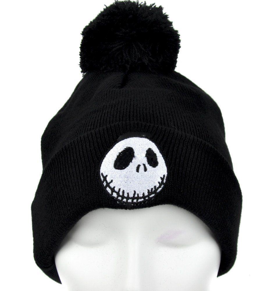 e6c4c39b5dc Jack Skellington Pom Pom Beanie Nightmare Before Christmas Knit Cap ...
