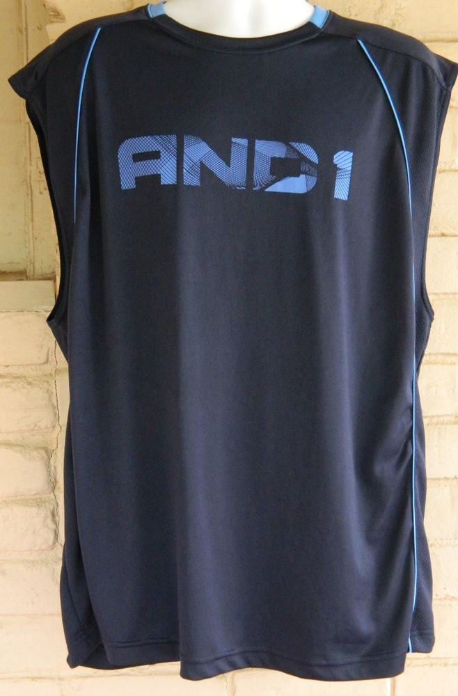 85538ddffefad Men s AND1 Sleeveless Athletic Muscle Tank Top Basketball Navy Size XL   AND1  ShirtsTops