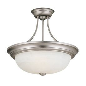 Closet Lighting Options: Millennium Lighting 15 In Satin Nickel Alabaster  Glass Semi Flush Mount Light @ Lowes For $60 Each