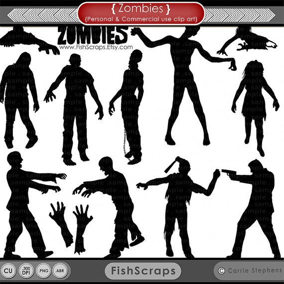 50 Sale Zombie Silhouettes Halloween Zombies Png Digital Stamps Photoshop Brushes Included Zombie Silhouette Halloween Silhouettes Halloween Clipart