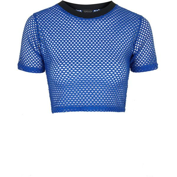 edf0498782a TopShop Airtex Crop Tee ($21) ❤ liked on Polyvore featuring tops, t-shirts,  cobalt, crop top, blue t shirt, topshop, crop t shirt and blue top