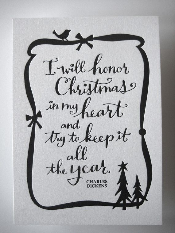 LETTERPRESS ART PRINT- I will honor Christmas in my heart and try ...