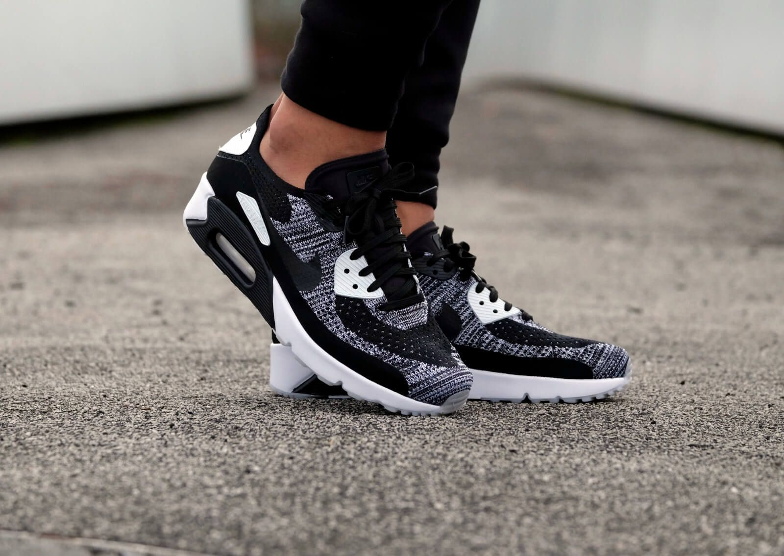 detailing 3bc9f 9a436 Nike Air Max 90 Ultra 2.0 Flyknit Mens Black White Cheap ...