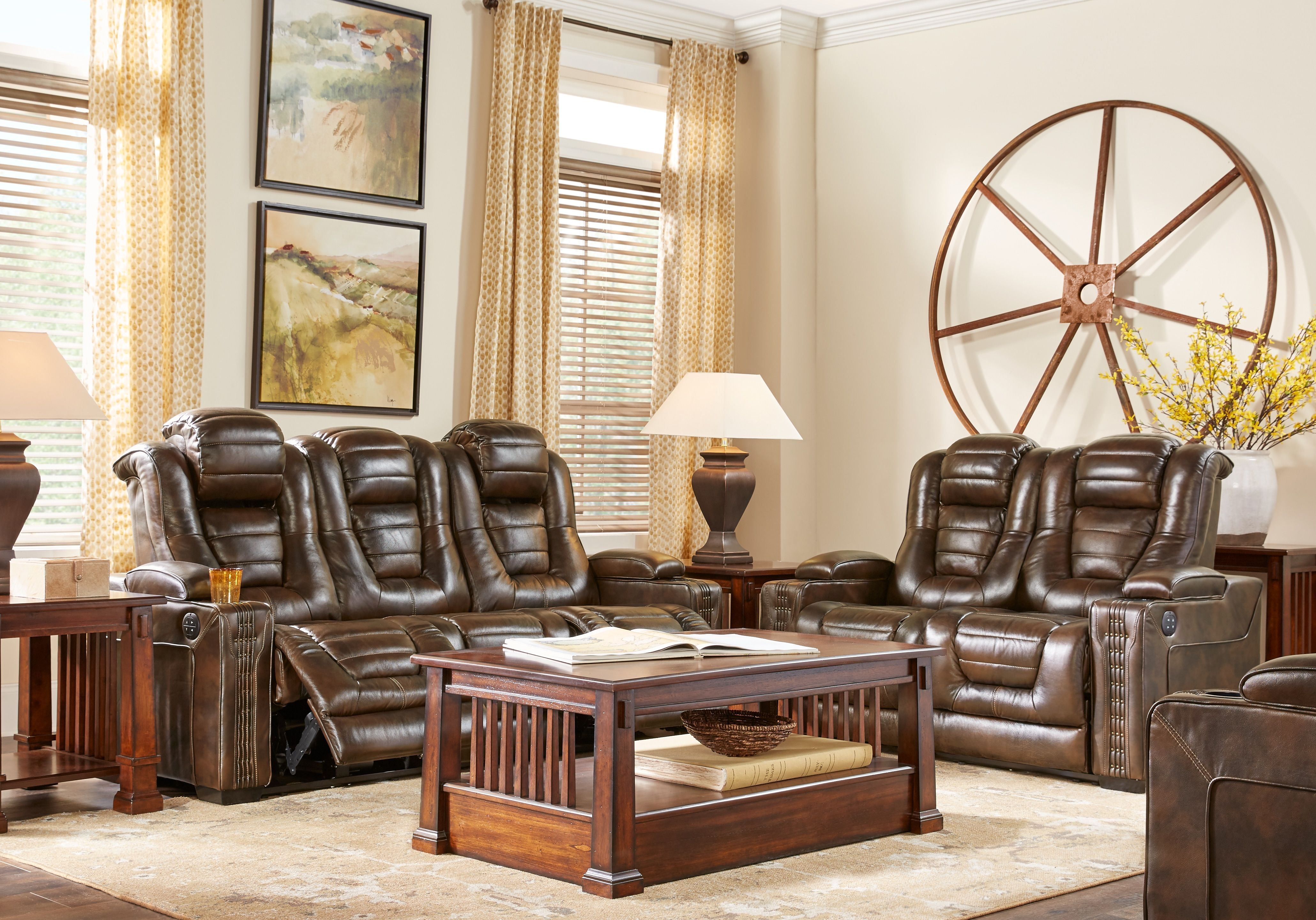 Eric Church Highway To Home Renegade Brown Leather 14 Pc Living