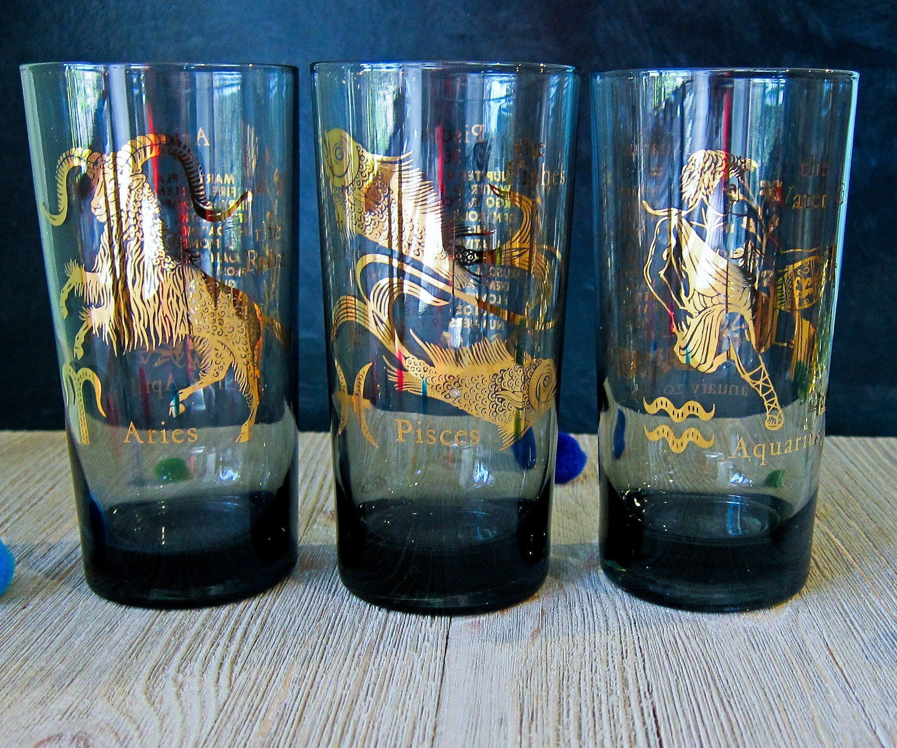 Zodiac Tumblers Vintage Smoked Glass Gold Zodiac Images Astrology Barware Glass By Odeermercantile On Etsy Smoked Glass Glass Zodiac