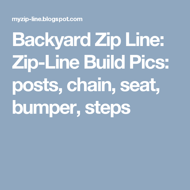 Backyard Zip Line: Zip-Line Build Pics: posts, chain, seat, bumper ...