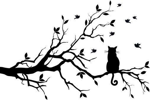 Dessin tatouage branches arbre et chat femme genealogy - Modele dessin chat ...