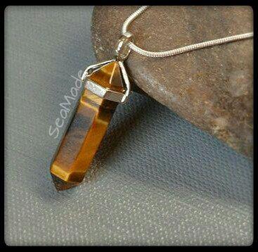 Genuine Tiger Eye Gemstone Point Pendant Necklace by SeaMadeCrafts