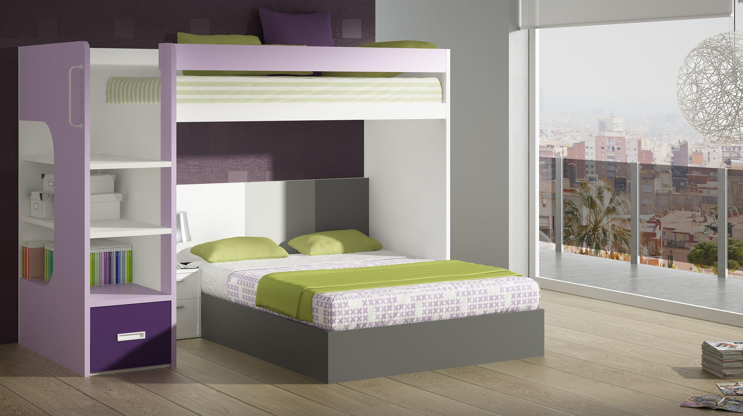 Habitaci n juvenil para 3 con cama de matrimonio sobre una for Habitaciones con literas
